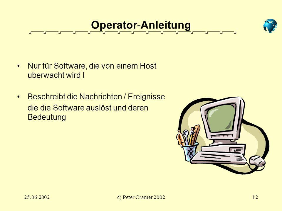 25.06.2002c) Peter Cramer 200212 Operator-Anleitung Nur für Software, die von einem Host überwacht wird ! Beschreibt die Nachrichten / Ereignisse die