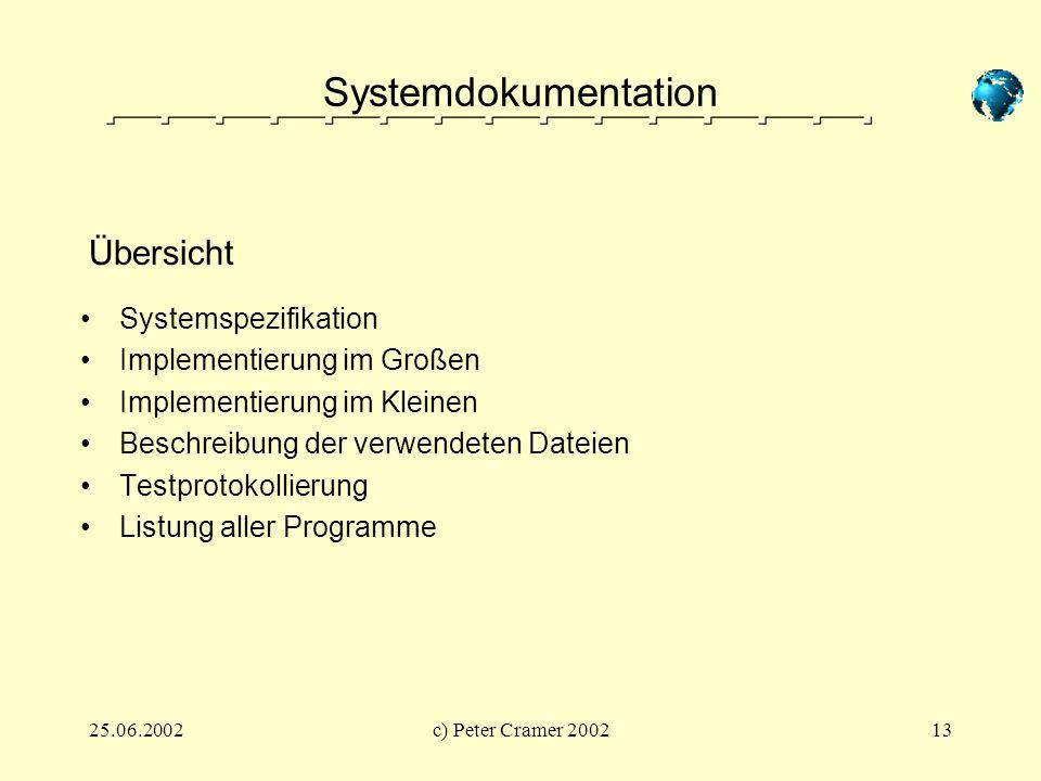 25.06.2002c) Peter Cramer 200213 Systemdokumentation Systemspezifikation Implementierung im Großen Implementierung im Kleinen Beschreibung der verwend