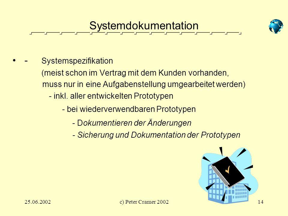 25.06.2002c) Peter Cramer 200214 Systemdokumentation - Systemspezifikation (meist schon im Vertrag mit dem Kunden vorhanden, muss nur in eine Aufgaben