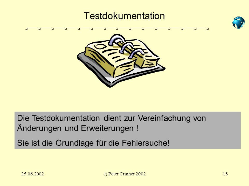 25.06.2002c) Peter Cramer 200218 Testdokumentation Die Testdokumentation dient zur Vereinfachung von Änderungen und Erweiterungen ! Sie ist die Grundl