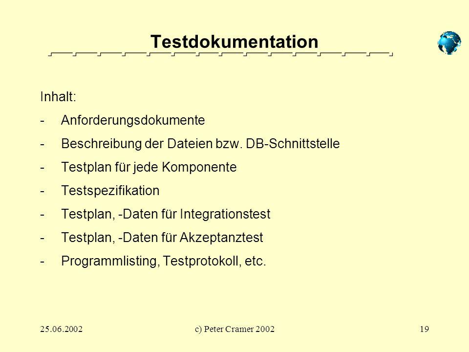 25.06.2002c) Peter Cramer 200219 Testdokumentation Inhalt: - Anforderungsdokumente - Beschreibung der Dateien bzw. DB-Schnittstelle - Testplan für jed