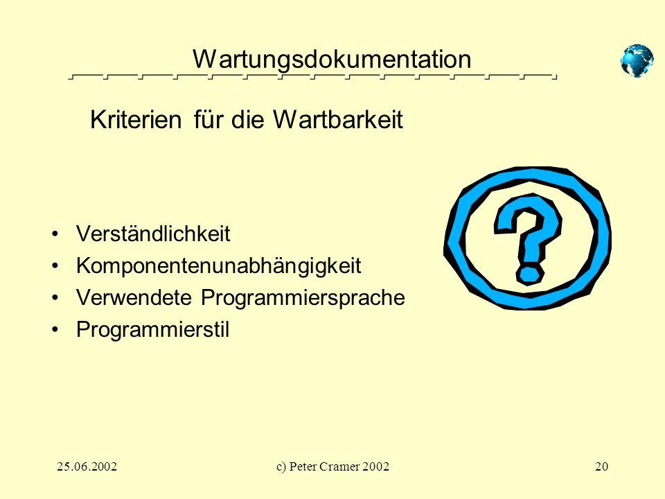 25.06.2002c) Peter Cramer 200220 Wartungsdokumentation Verständlichkeit Komponentenunabhängigkeit Verwendete Programmiersprache Programmierstil Kriter