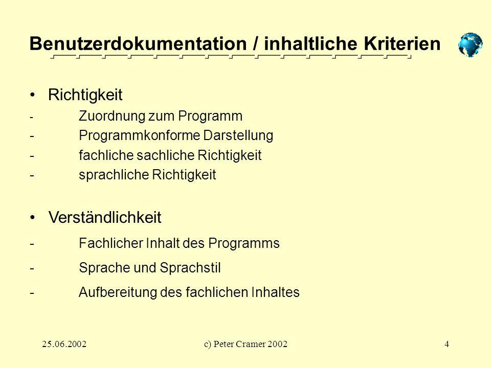 25.06.2002c) Peter Cramer 20024 Benutzerdokumentation / inhaltliche Kriterien Verständlichkeit -Fachlicher Inhalt des Programms -Sprache und Sprachsti