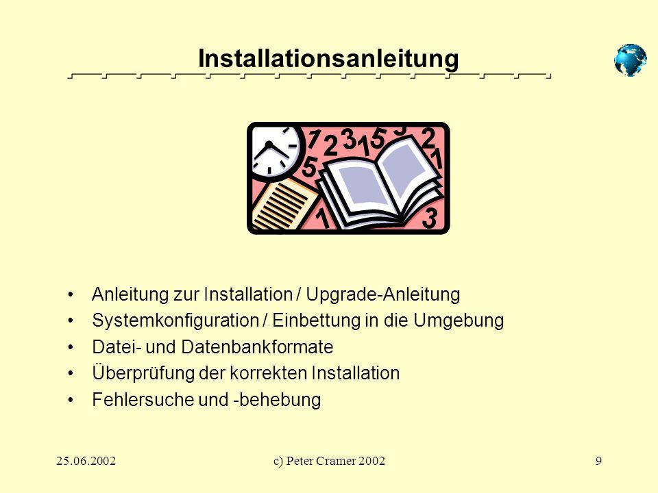 25.06.2002c) Peter Cramer 20029 Installationsanleitung Anleitung zur Installation / Upgrade-Anleitung Systemkonfiguration / Einbettung in die Umgebung