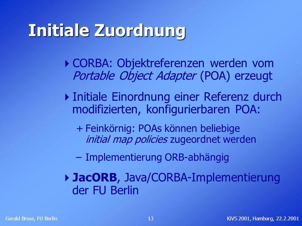 Gerald Brose, FU Berlin 13KiVS 2001, Hamburg, 22.2.2001 Initiale Zuordnung CORBA: Objektreferenzen werden vom Portable Object Adapter (POA) erzeugt In