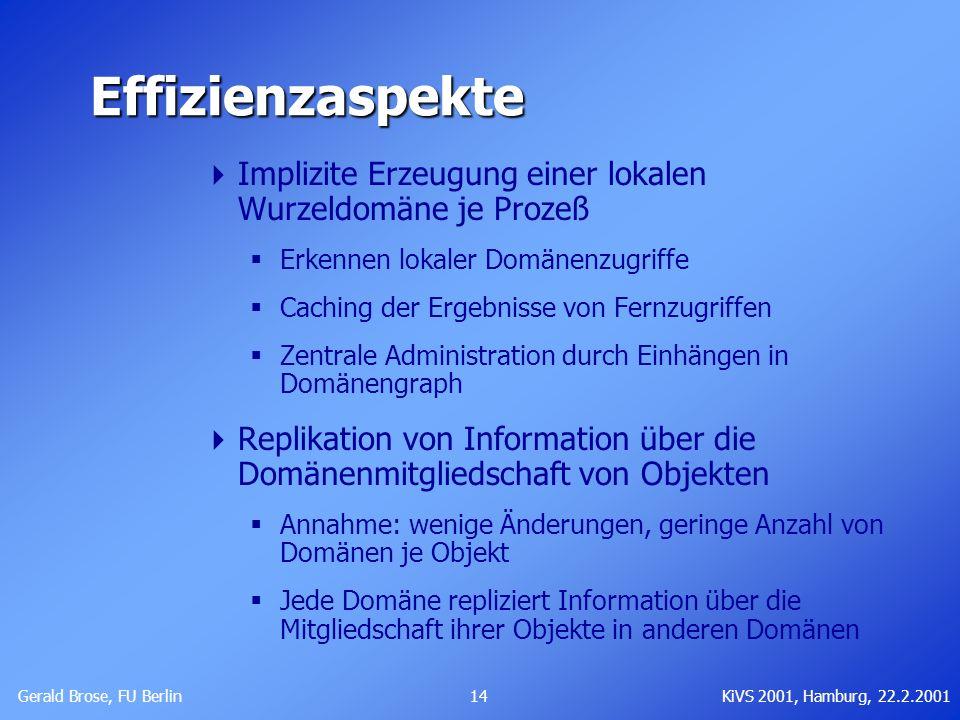 Gerald Brose, FU Berlin 14KiVS 2001, Hamburg, 22.2.2001 Effizienzaspekte Implizite Erzeugung einer lokalen Wurzeldomäne je Prozeß Erkennen lokaler Dom