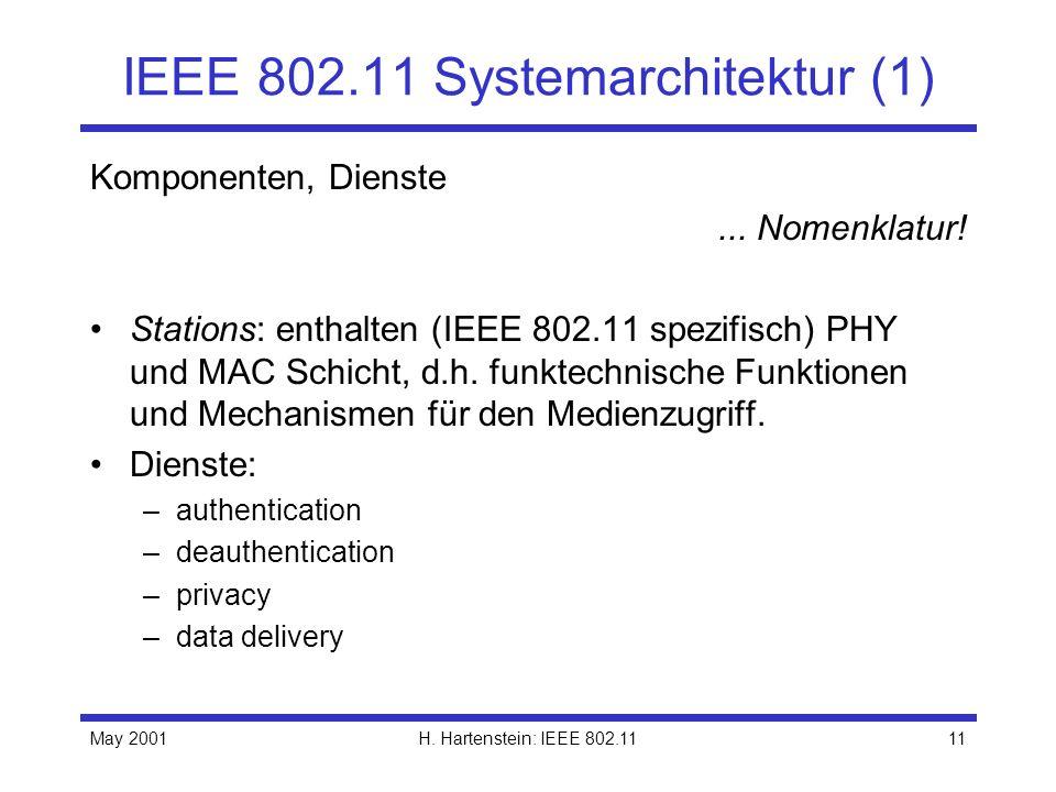 May 2001H. Hartenstein: IEEE 802.1111 IEEE 802.11 Systemarchitektur (1) Komponenten, Dienste... Nomenklatur! Stations: enthalten (IEEE 802.11 spezifis