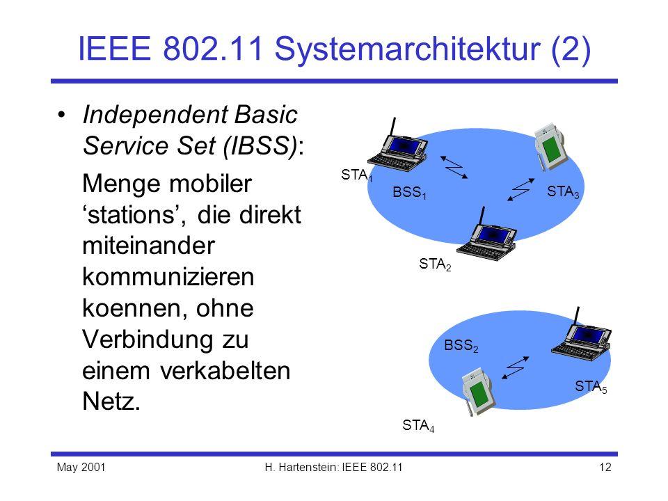 May 2001H. Hartenstein: IEEE 802.1112 IEEE 802.11 Systemarchitektur (2) Independent Basic Service Set (IBSS): Menge mobiler stations, die direkt mitei