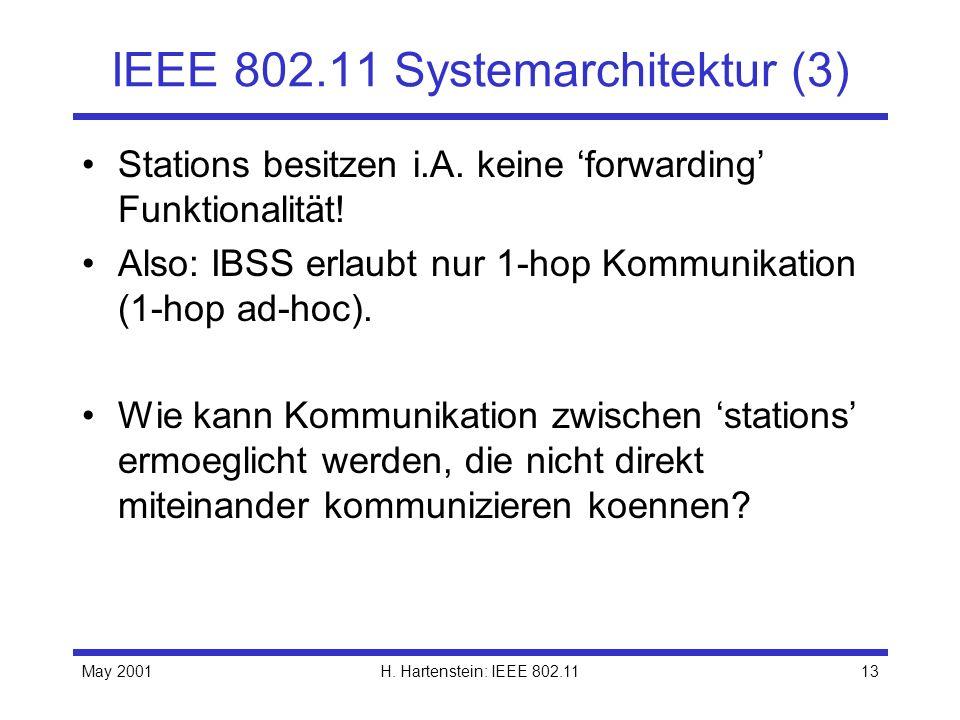 May 2001H. Hartenstein: IEEE 802.1113 IEEE 802.11 Systemarchitektur (3) Stations besitzen i.A. keine forwarding Funktionalität! Also: IBSS erlaubt nur