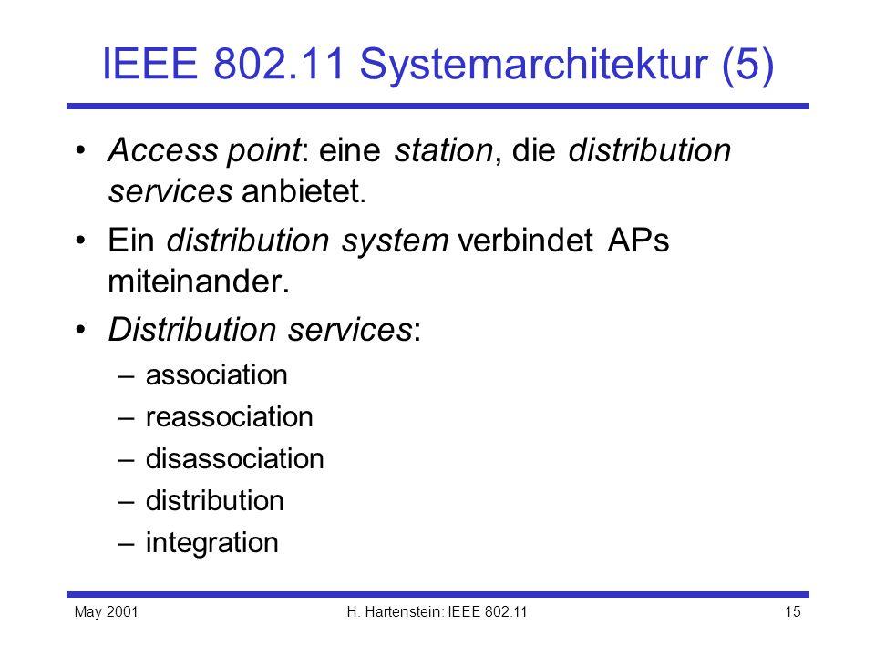 May 2001H. Hartenstein: IEEE 802.1115 IEEE 802.11 Systemarchitektur (5) Access point: eine station, die distribution services anbietet. Ein distributi