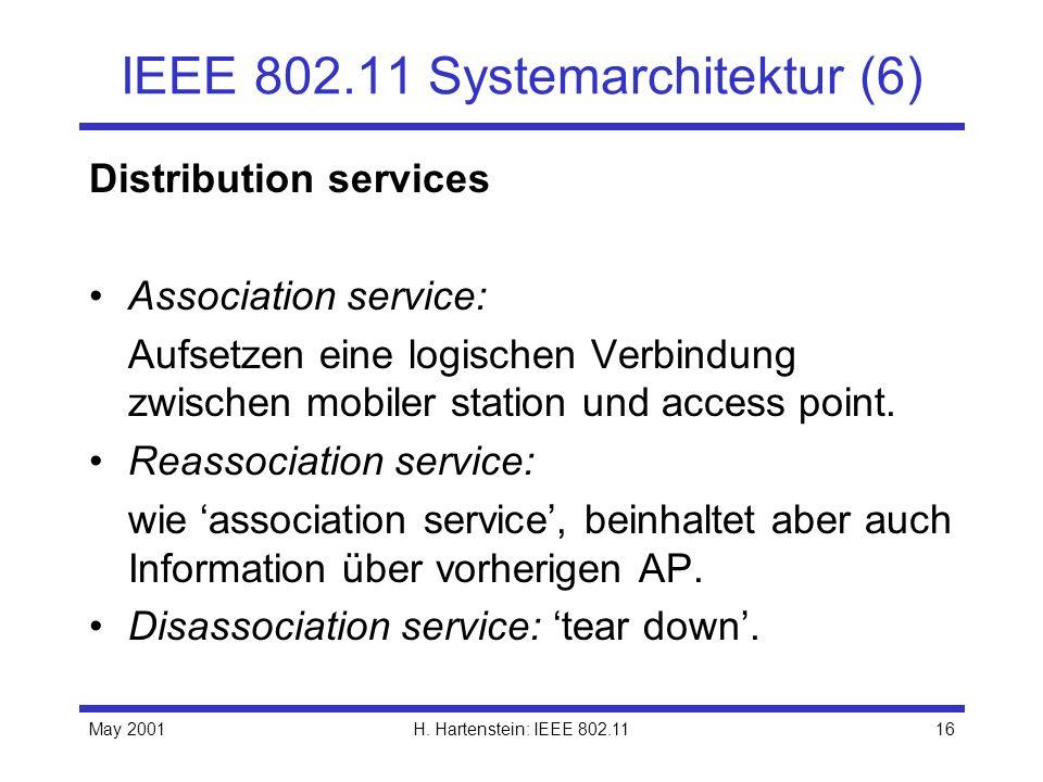 May 2001H. Hartenstein: IEEE 802.1116 IEEE 802.11 Systemarchitektur (6) Distribution services Association service: Aufsetzen eine logischen Verbindung