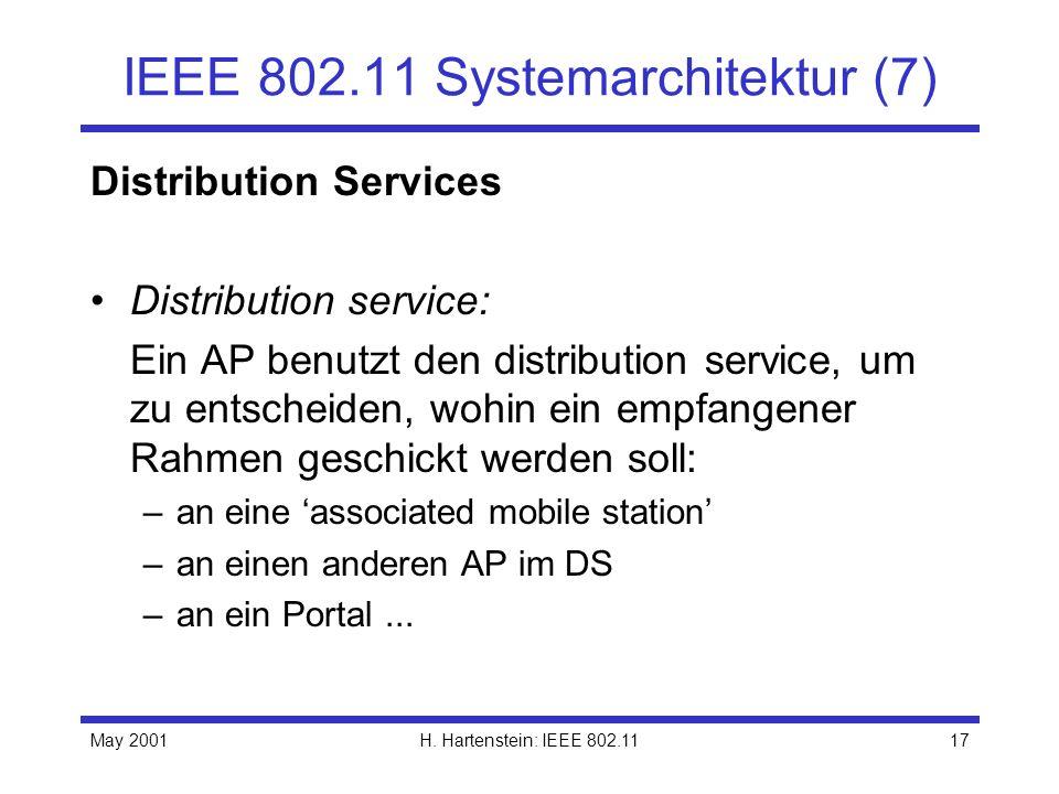 May 2001H. Hartenstein: IEEE 802.1117 IEEE 802.11 Systemarchitektur (7) Distribution Services Distribution service: Ein AP benutzt den distribution se
