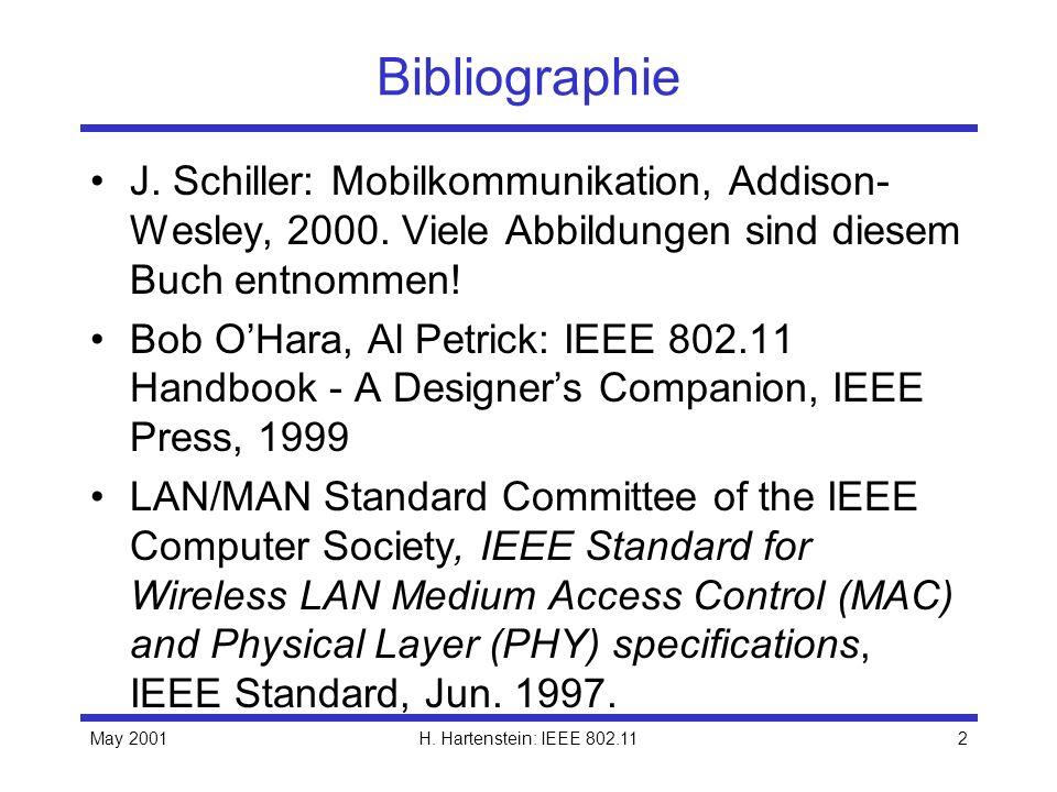 May 2001H. Hartenstein: IEEE 802.112 Bibliographie J. Schiller: Mobilkommunikation, Addison- Wesley, 2000. Viele Abbildungen sind diesem Buch entnomme