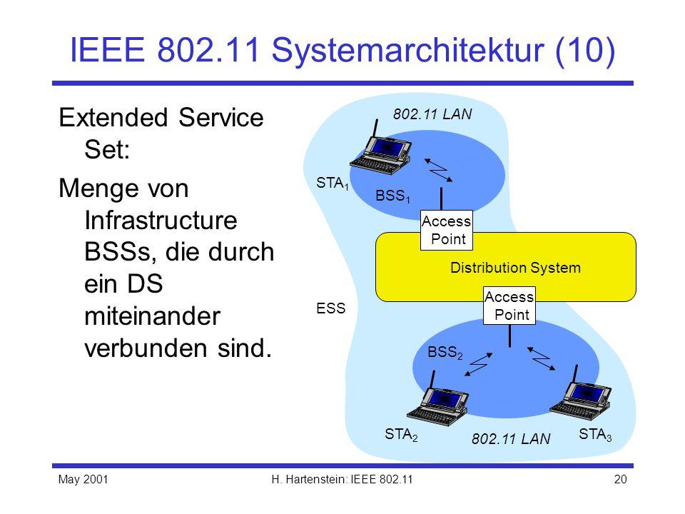 May 2001H. Hartenstein: IEEE 802.1120 IEEE 802.11 Systemarchitektur (10) Extended Service Set: Menge von Infrastructure BSSs, die durch ein DS miteina