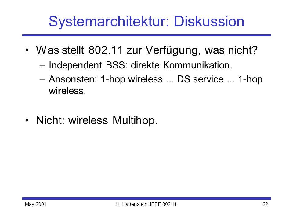 May 2001H. Hartenstein: IEEE 802.1122 Systemarchitektur: Diskussion Was stellt 802.11 zur Verfügung, was nicht? –Independent BSS: direkte Kommunikatio