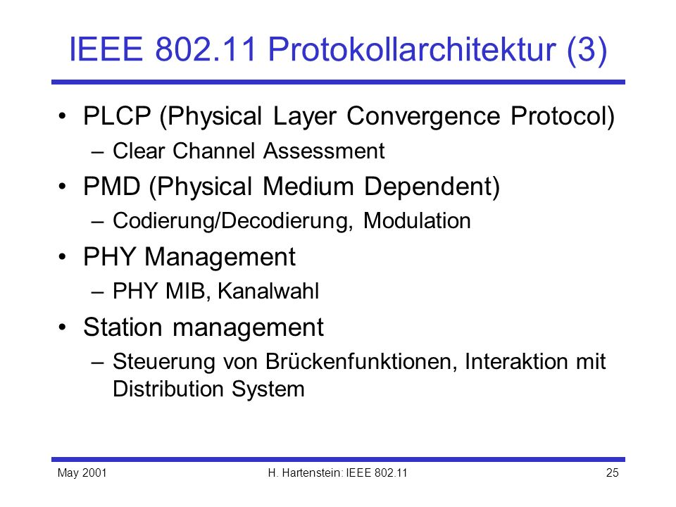 May 2001H. Hartenstein: IEEE 802.1125 IEEE 802.11 Protokollarchitektur (3) PLCP (Physical Layer Convergence Protocol) –Clear Channel Assessment PMD (P