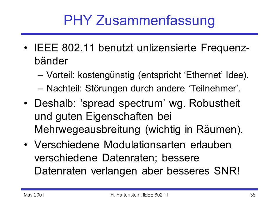 May 2001H. Hartenstein: IEEE 802.1135 PHY Zusammenfassung IEEE 802.11 benutzt unlizensierte Frequenz- bänder –Vorteil: kostengünstig (entspricht Ether