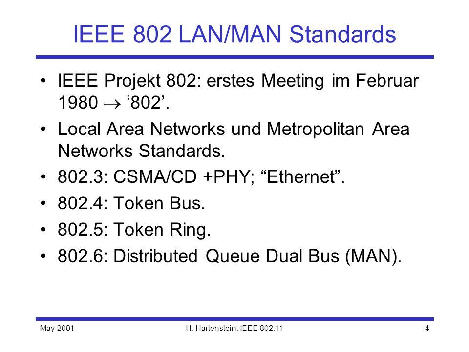 May 2001H. Hartenstein: IEEE 802.114 IEEE 802 LAN/MAN Standards IEEE Projekt 802: erstes Meeting im Februar 1980 802. Local Area Networks und Metropol