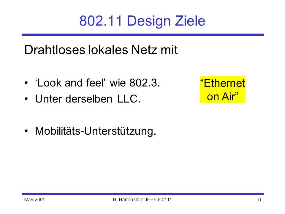May 2001H. Hartenstein: IEEE 802.116 802.11 Design Ziele Drahtloses lokales Netz mit Look and feel wie 802.3. Unter derselben LLC. Mobilitäts-Unterstü