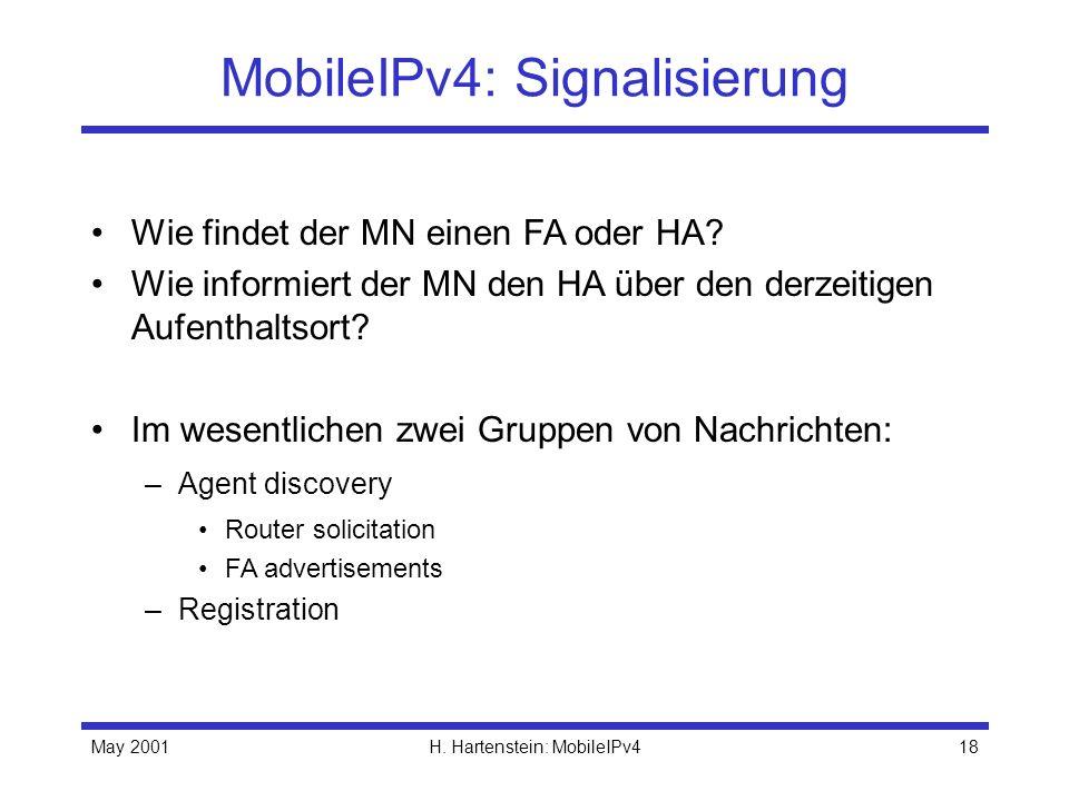 May 2001H. Hartenstein: MobileIPv418 MobileIPv4: Signalisierung Wie findet der MN einen FA oder HA? Wie informiert der MN den HA über den derzeitigen