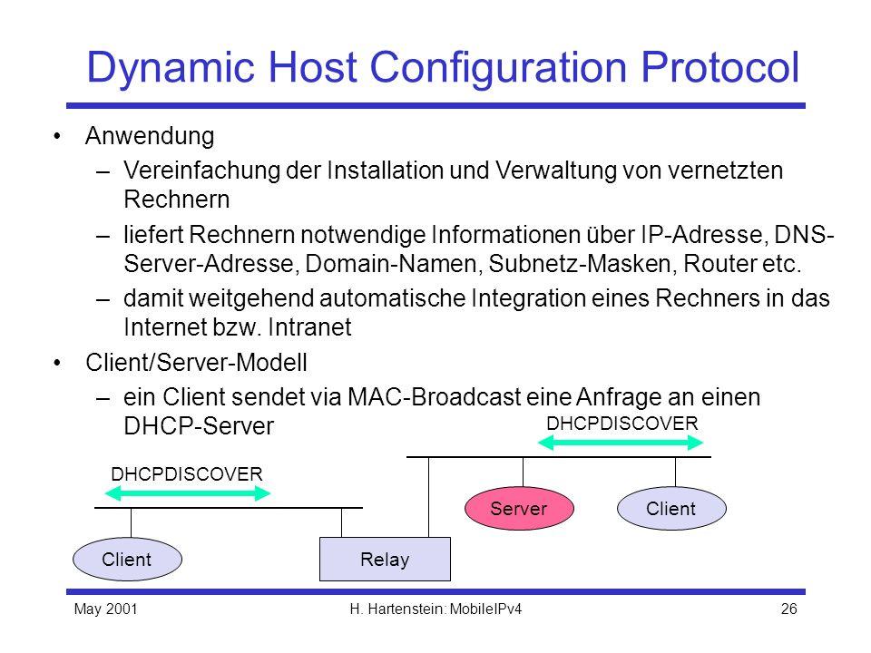 May 2001H. Hartenstein: MobileIPv426 Dynamic Host Configuration Protocol Anwendung –Vereinfachung der Installation und Verwaltung von vernetzten Rechn