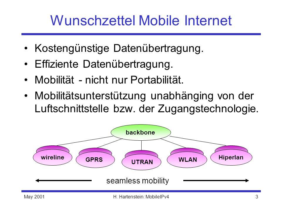 May 2001H. Hartenstein: MobileIPv43 Wunschzettel Mobile Internet Kostengünstige Datenübertragung. Effiziente Datenübertragung. Mobilität - nicht nur P