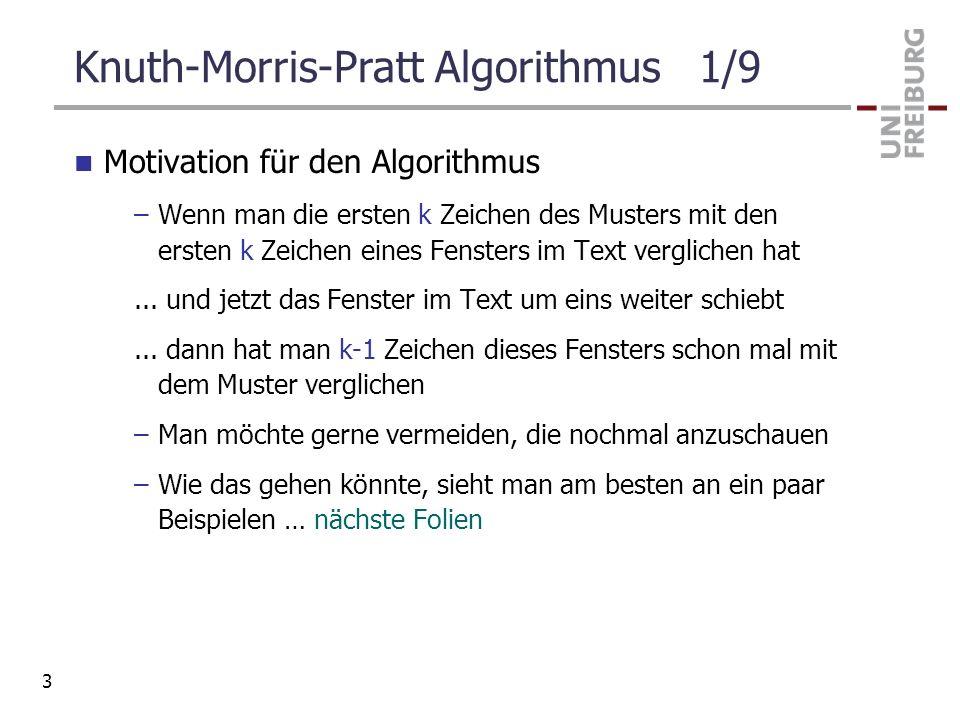 Knuth-Morris-Pratt Algorithmus 1/9 Motivation für den Algorithmus –Wenn man die ersten k Zeichen des Musters mit den ersten k Zeichen eines Fensters i