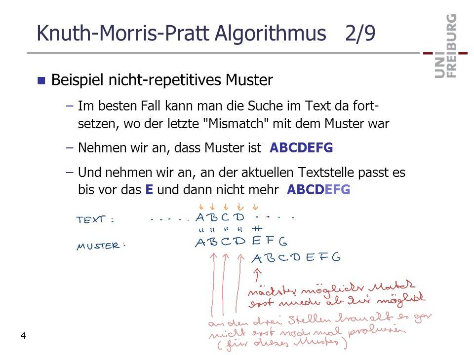 Knuth-Morris-Pratt Algorithmus 2/9 Beispiel nicht-repetitives Muster –Im besten Fall kann man die Suche im Text da fort- setzen, wo der letzte