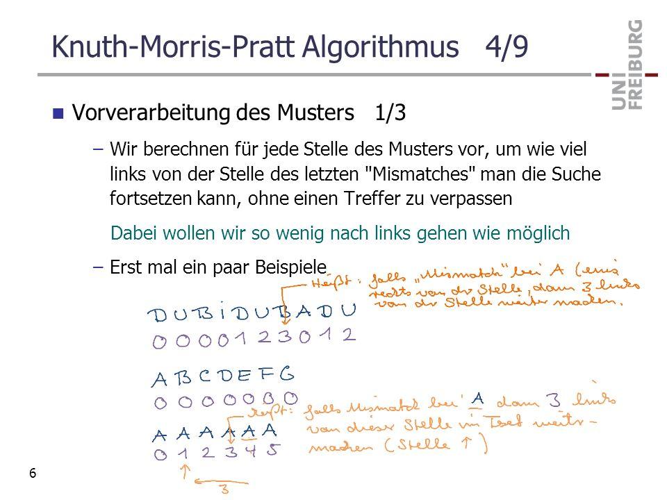 Knuth-Morris-Pratt Algorithmus 4/9 Vorverarbeitung des Musters 1/3 –Wir berechnen für jede Stelle des Musters vor, um wie viel links von der Stelle de