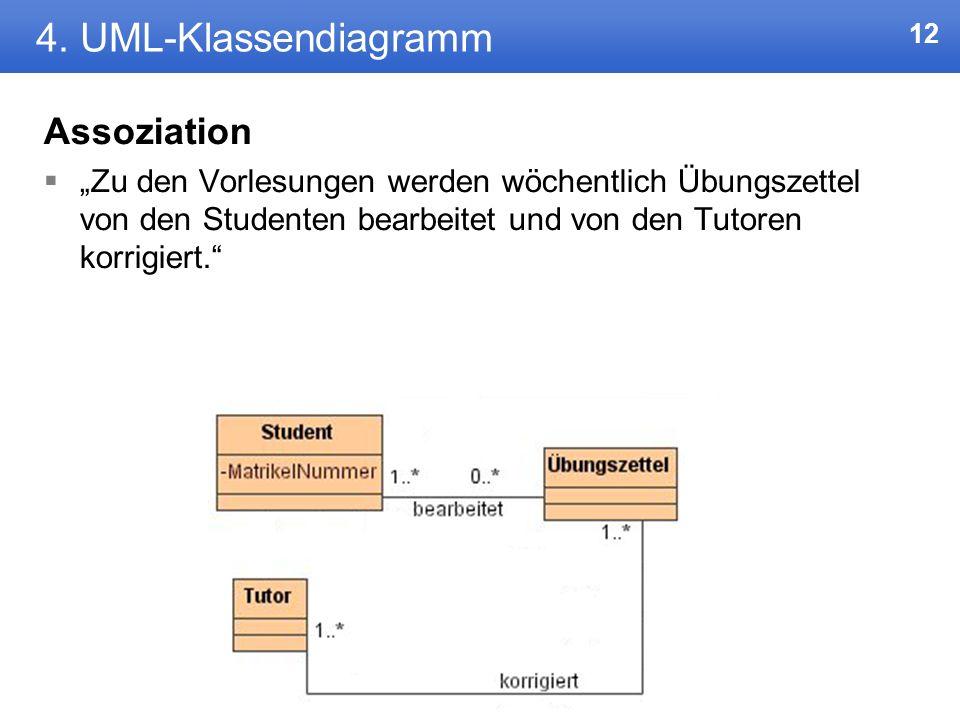 11 4. UML-Klassendiagramm Aggregation Bsp: Eine Hochschule hat mehrere Fachbereiche und mehrere Räume.