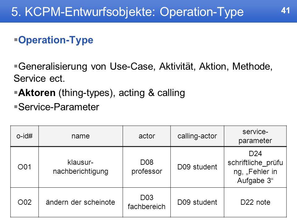 40 5. KCPM-Entwurfsobjekte: Connection-Type Mehrstellige Beziehungen 1) Jede Veranstaltung und jedes Tutorium findet zu bestimmten Zeiten in einem bes