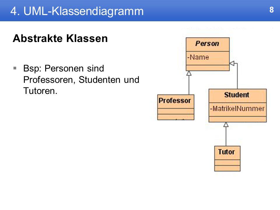 7 4. UML-Klassendiagramm Abstrakte Klassen Klassen, von denen keine Instanzen erzeugt werden sollen Der Klassename wird dabei kursiv geschrieben