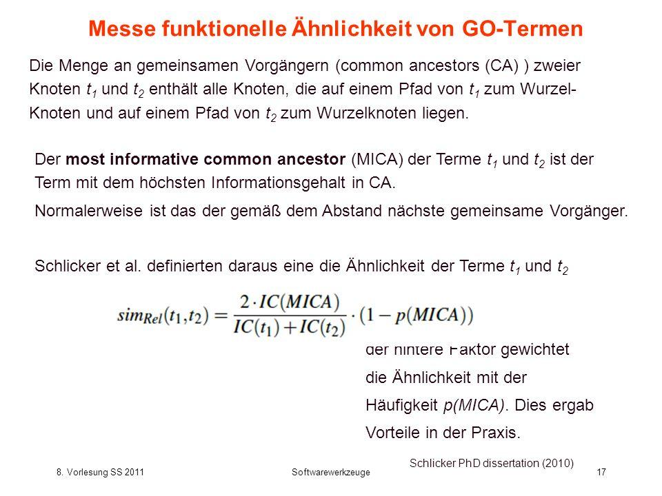 8. Vorlesung SS 2011Softwarewerkzeuge17 Messe funktionelle Ähnlichkeit von GO-Termen Schlicker PhD dissertation (2010) Der most informative common anc