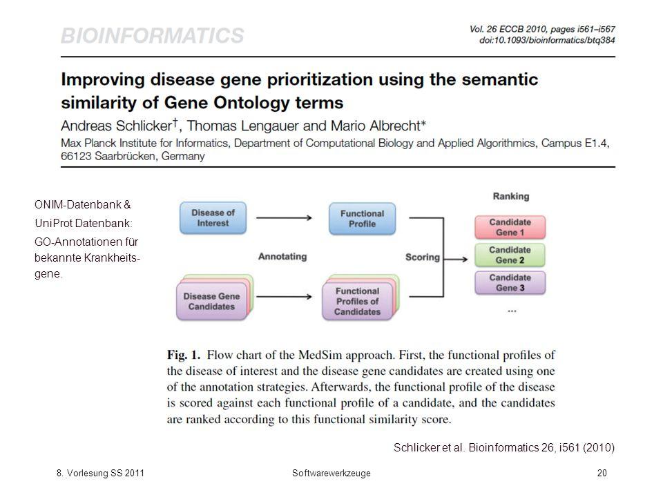 8. Vorlesung SS 2011Softwarewerkzeuge20 Schlicker et al. Bioinformatics 26, i561 (2010) ONIM-Datenbank & UniProt Datenbank: GO-Annotationen für bekann