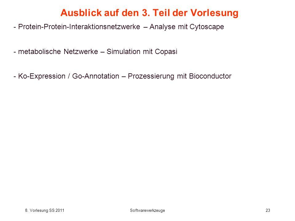 8. Vorlesung SS 2011Softwarewerkzeuge23 Ausblick auf den 3. Teil der Vorlesung - Protein-Protein-Interaktionsnetzwerke – Analyse mit Cytoscape - metab