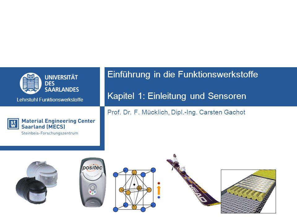 Einführung in die Funktionswerkstoffe12 Lehrstuhl Funktionswerkstoffe Sensoren und Aktoren Sensorbeispiele Photowiderstände Temperatursensoren CCD-Sensor Beschleunigungssensor Ultraschallsensor Drucksensor Durchflusssensor