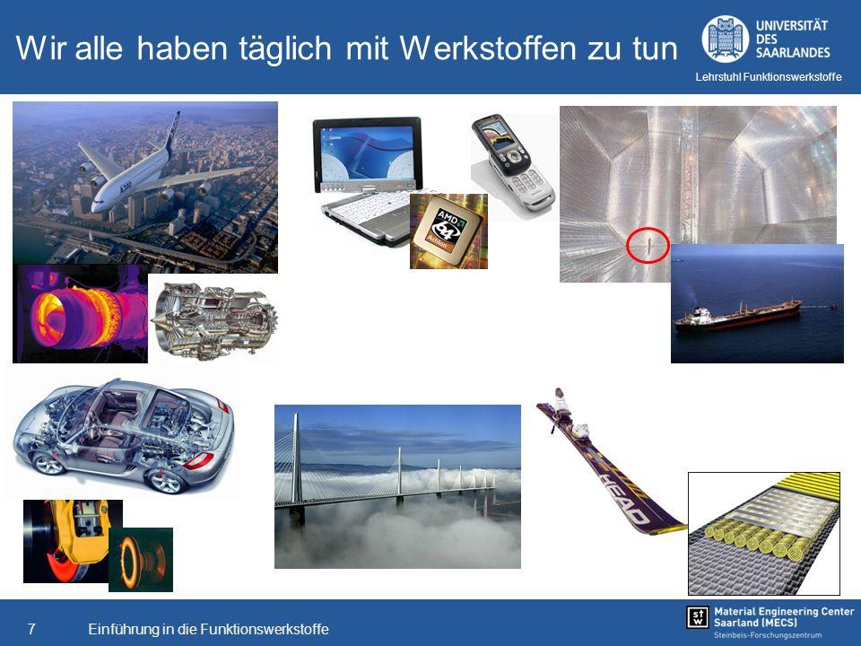 Einführung in die Funktionswerkstoffe8 Lehrstuhl Funktionswerkstoffe Werkstoffe für extrem Anforderungen Was haben ein kraftwerk und ein Airbus gemeinsam?