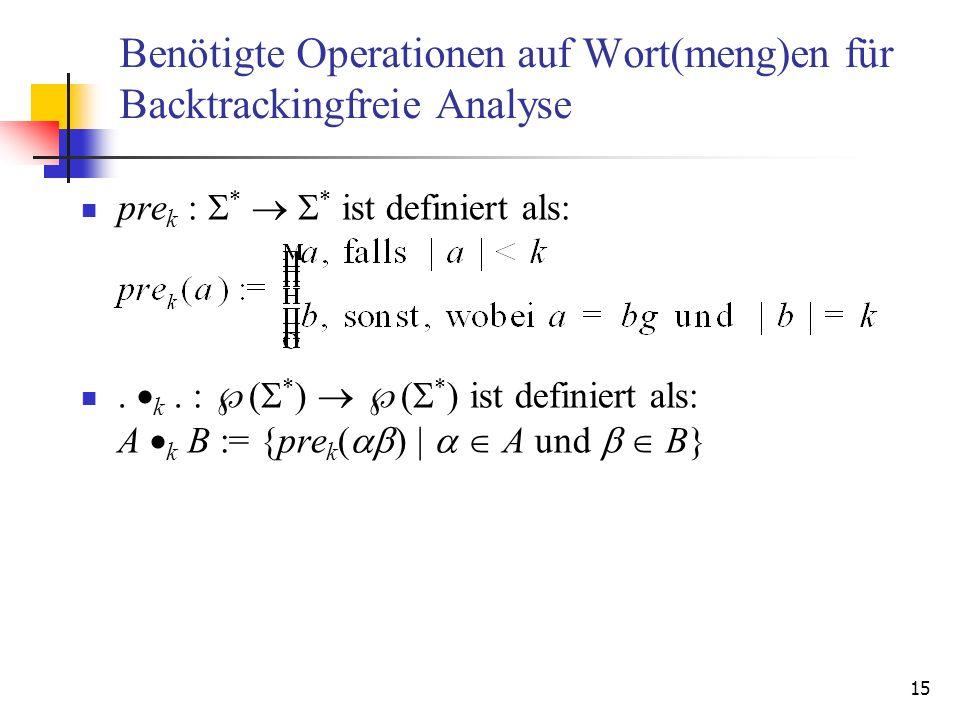 15 Benötigte Operationen auf Wort(meng)en für Backtrackingfreie Analyse pre k : * * ist definiert als:. k. : ( * ) ( * ) ist definiert als: A k B := {