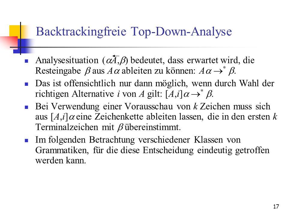 17 Backtrackingfreie Top-Down-Analyse Analysesituation ( A, ) bedeutet, dass erwartet wird, die Resteingabe aus A ableiten zu können: A *. Das ist off