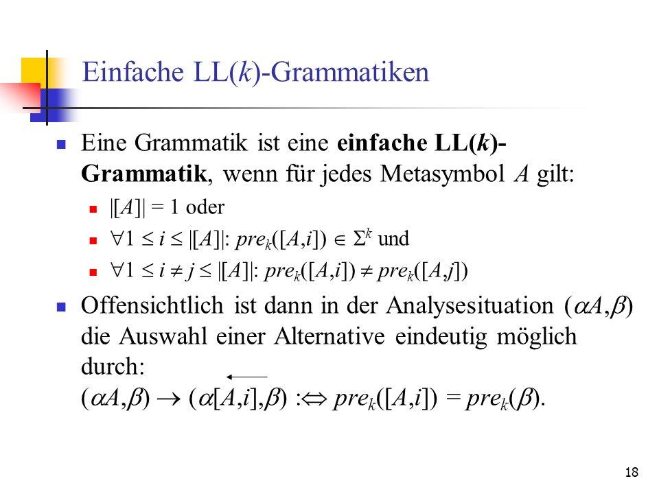 18 Einfache LL(k)-Grammatiken Eine Grammatik ist eine einfache LL(k)- Grammatik, wenn für jedes Metasymbol A gilt: |[A]| = 1 oder 1 i |[A]|: pre k ([A