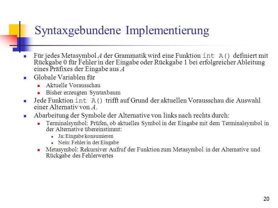 20 Syntaxgebundene Implementierung Für jedes Metasymbol A der Grammatik wird eine Funktion int A() definiert mit Rückgabe 0 für Fehler in der Eingabe
