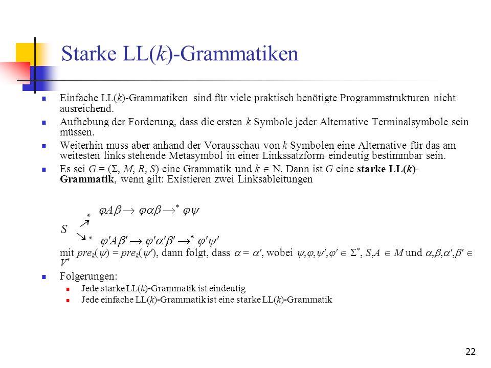 22 Starke LL(k)-Grammatiken Einfache LL(k)-Grammatiken sind für viele praktisch benötigte Programmstrukturen nicht ausreichend. Aufhebung der Forderun