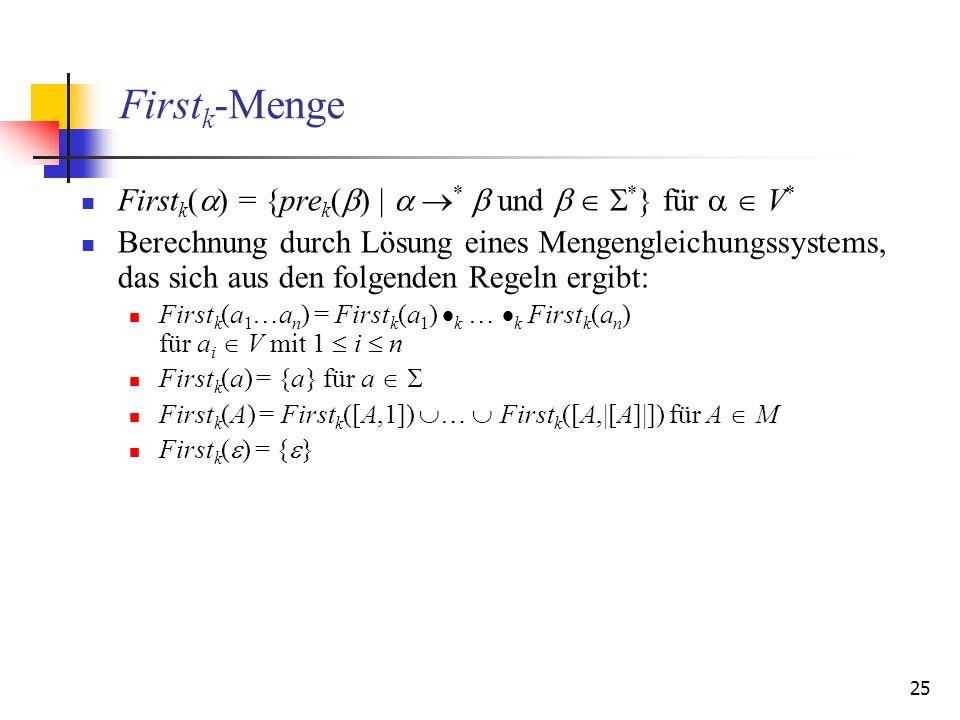 25 First k -Menge First k ( ) = {pre k ( ) | * und * } für V * Berechnung durch Lösung eines Mengengleichungssystems, das sich aus den folgenden Regel