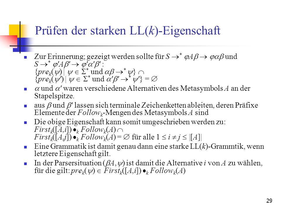 29 Prüfen der starken LL(k)-Eigenschaft Zur Erinnerung; gezeigt werden sollte für S * A und S * 'A ' ' ' ' : {pre k ( ) | * und * } {pre k ( ') | * un