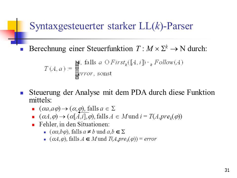 31 Syntaxgesteuerter starker LL(k)-Parser Berechnung einer Steuerfunktion T : M k durch: Steuerung der Analyse mit dem PDA durch diese Funktion mittel