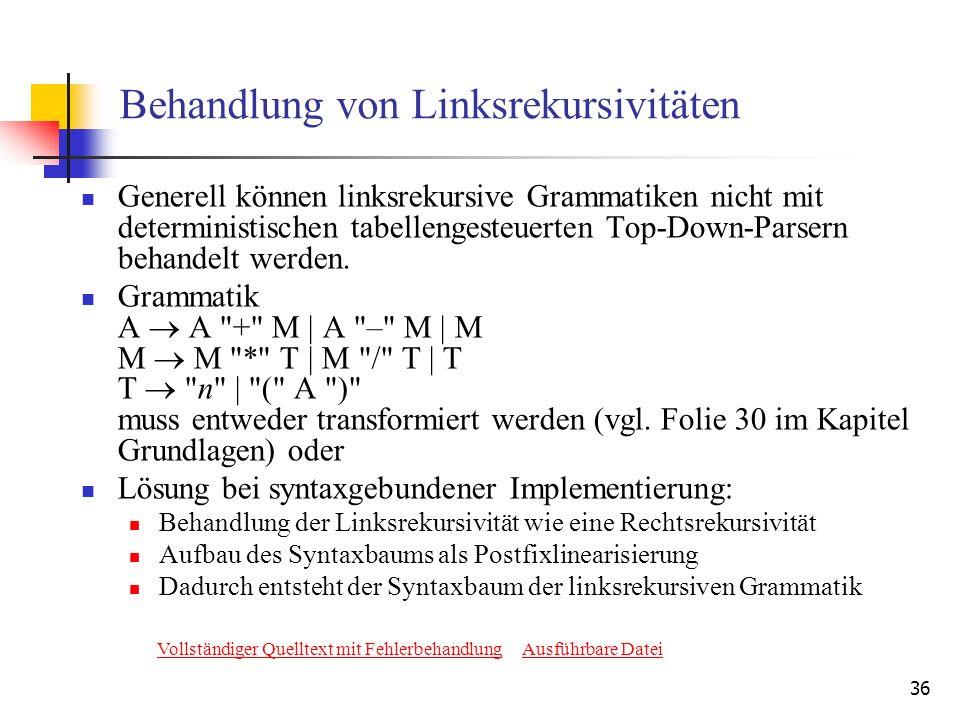 36 Behandlung von Linksrekursivitäten Generell können linksrekursive Grammatiken nicht mit deterministischen tabellengesteuerten Top-Down-Parsern beha