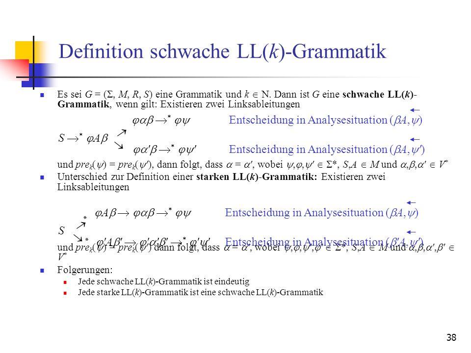 38 Definition schwache LL(k)-Grammatik Es sei G = (, M, R, S) eine Grammatik und k. Dann ist G eine schwache LL(k)- Grammatik, wenn gilt: Existieren z