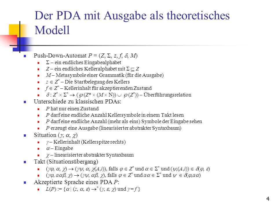 4 Der PDA mit Ausgabe als theoretisches Modell Push-Down-Automat P = (Z,, z, f,, M) – ein endliches Eingabealphabet Z – ein endliches Kelleralphabet m