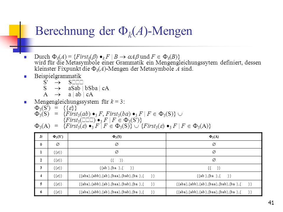 41 Berechnung der F k (A)-Mengen Durch F k (A) = {First k ( ) k F | B A und F F k (B)} wird für die Metasymbole einer Grammatik ein Mengengleichungssy