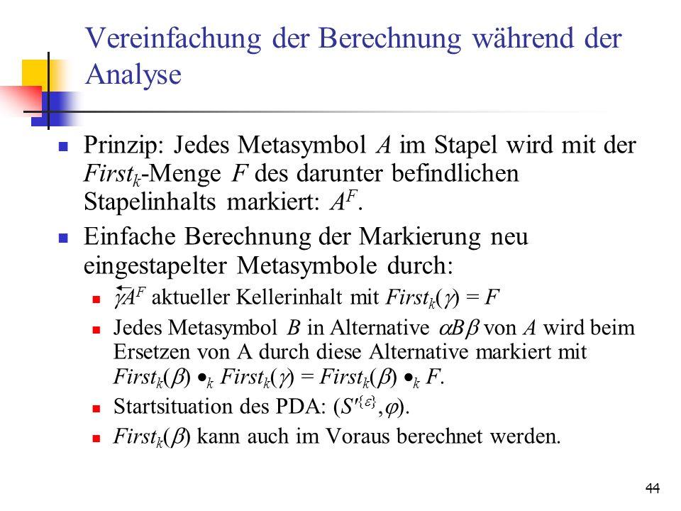 44 Vereinfachung der Berechnung während der Analyse Prinzip: Jedes Metasymbol A im Stapel wird mit der First k -Menge F des darunter befindlichen Stap